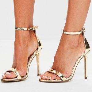 Gold two strap heels